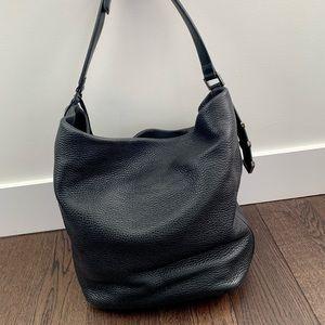 Black Pebbled Leather Mackage Tote Purse